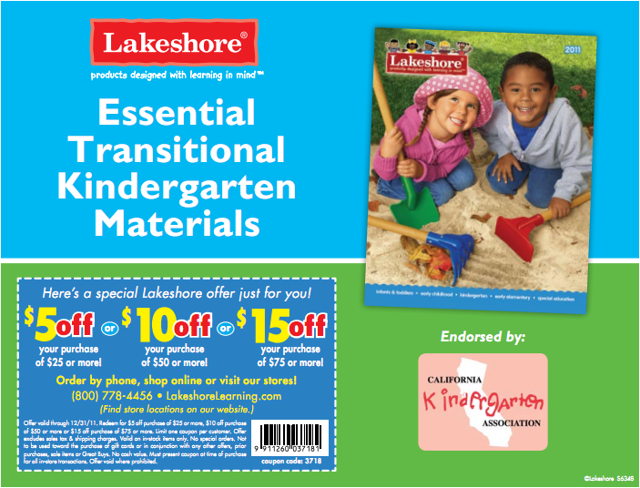 Lakeshore Transitional Kindergarten Materials