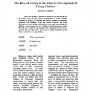 The Role of Choice in the Literacy Development of Young Children, Daniel Meier
