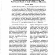 Balancing Constructivist and Instructivist Curriculum Goals in Early Childhood Education, Lilian G. Katz