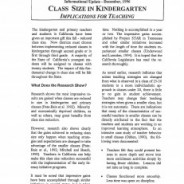 Class Size in Kindergarten, Implications for Teaching – December 1996