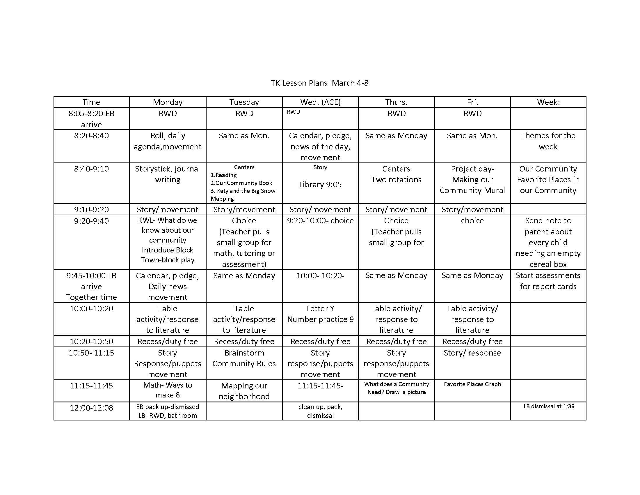 Transitional Kindergarten Schedule & Lesson Plans