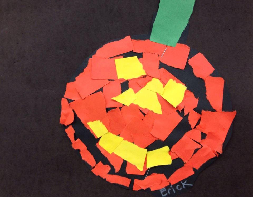 Tear Art Jack-o'-Lanterns