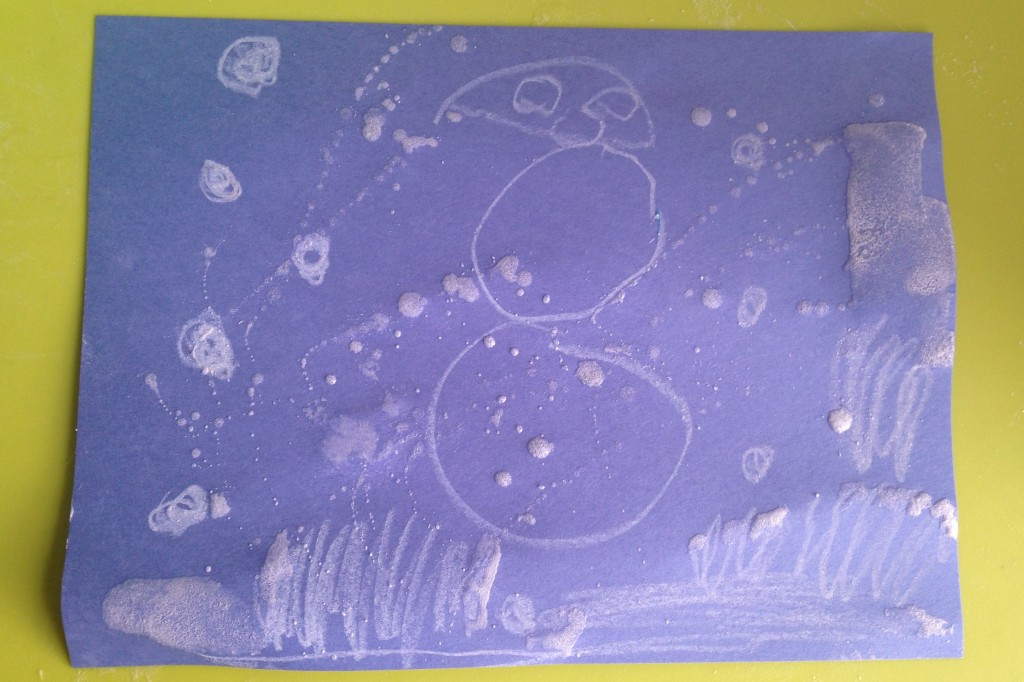 Add a frosty touch to your kindergarten winter art with Epsom salts.