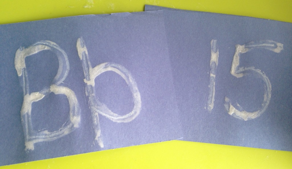 Epsom salts work great for adding a winter touch to letters and numbers, too.