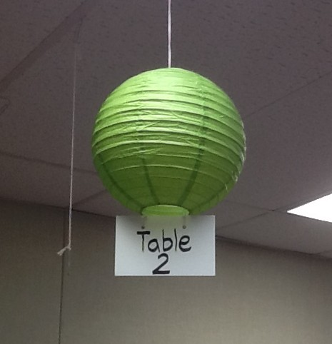 Debra label classroom tables with party store paper lanterns