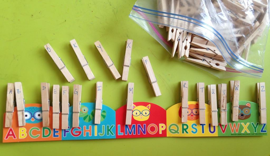Practice letter matching with clothespins and bulletin board borders.