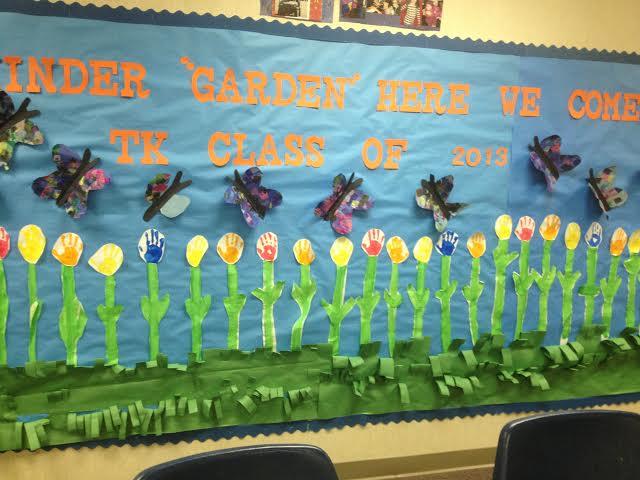 Spring Hand Print Flower Bulletin Board
