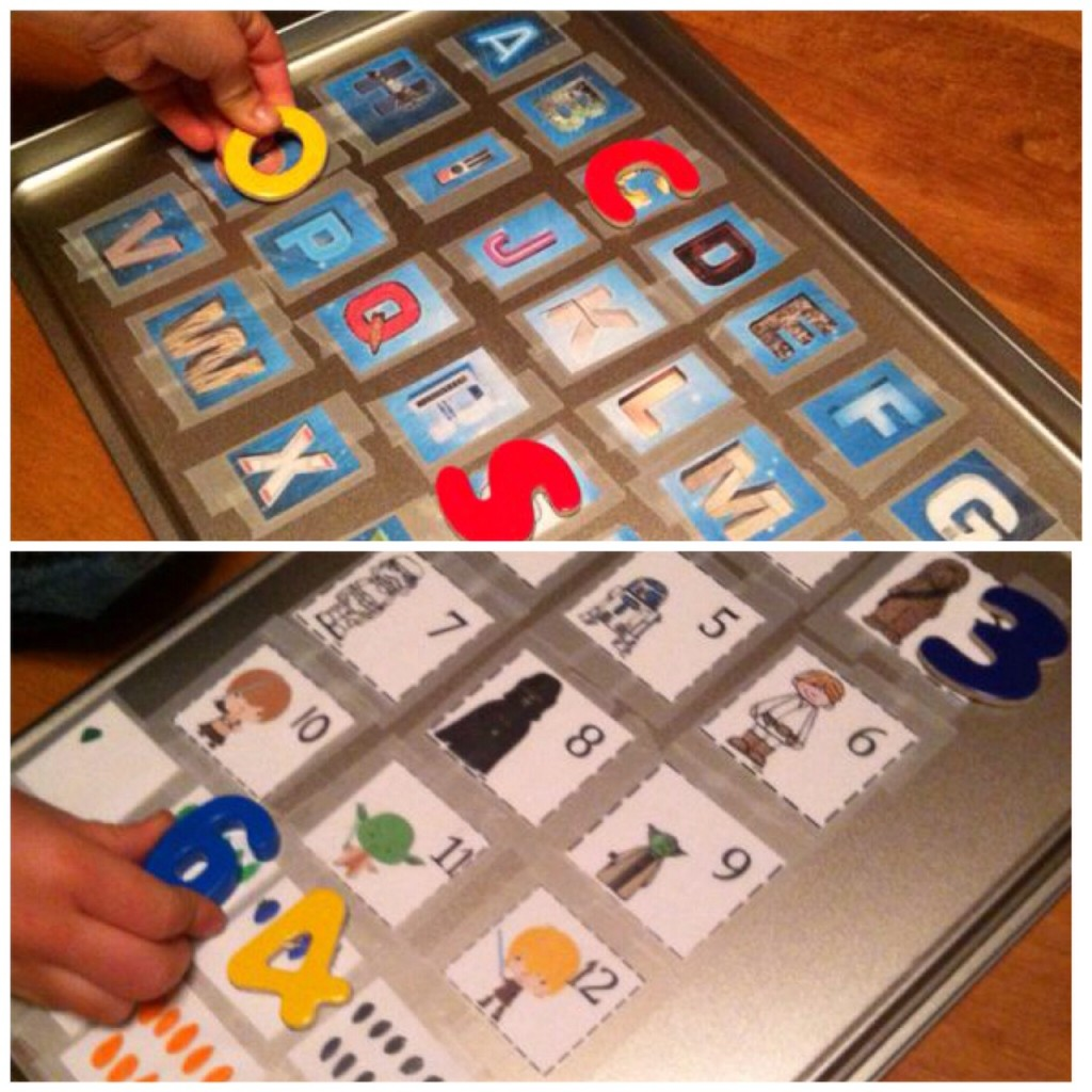Cookie sheet magnetic letter and numbers matching.