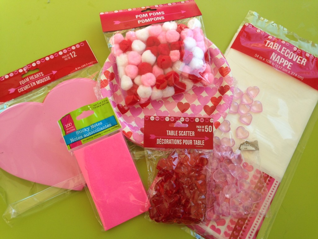 Valentine's dollar store supplies for easy, theme hands on activities.