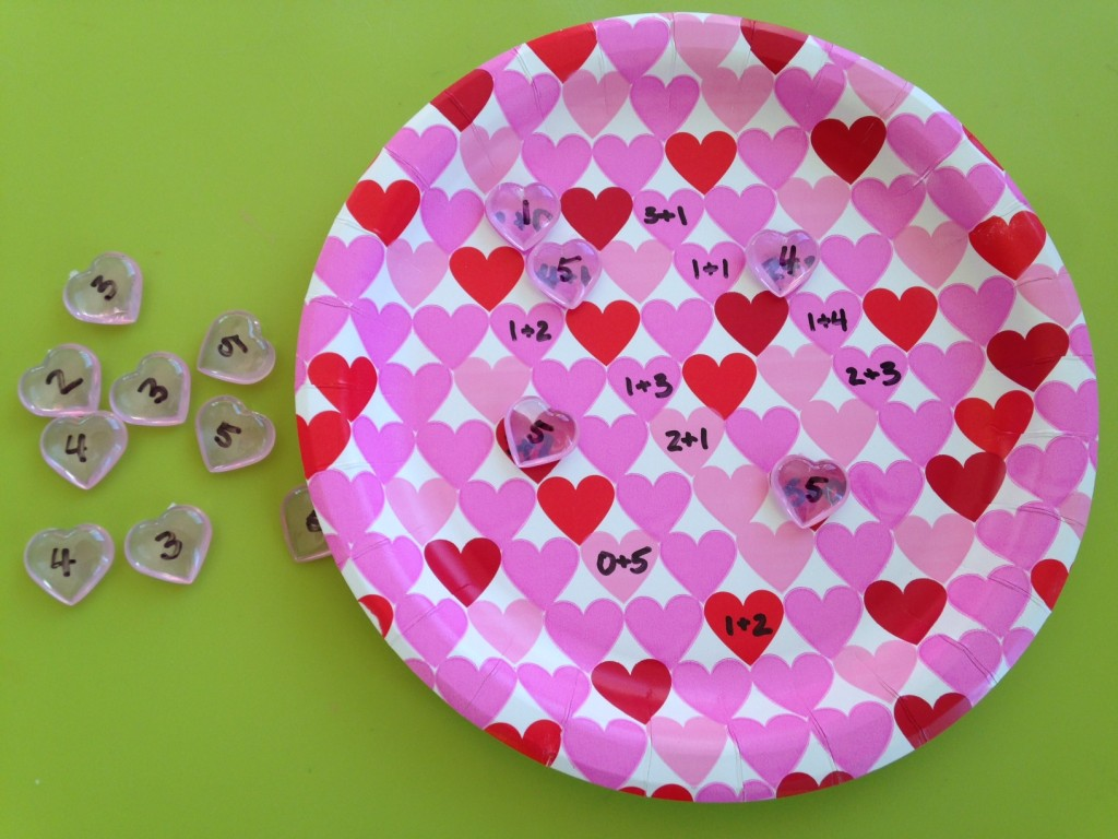 Valentine's plate addition game.