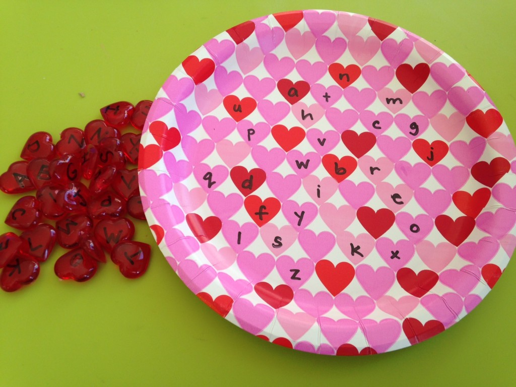 Valentine's plate letter matching.