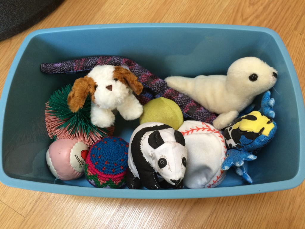 Sensory box - help calm students who are anxious or who need sensory feedback.