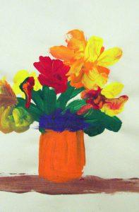 flowers-in-orange-vase