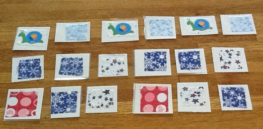 Fabric squares for hands on math.