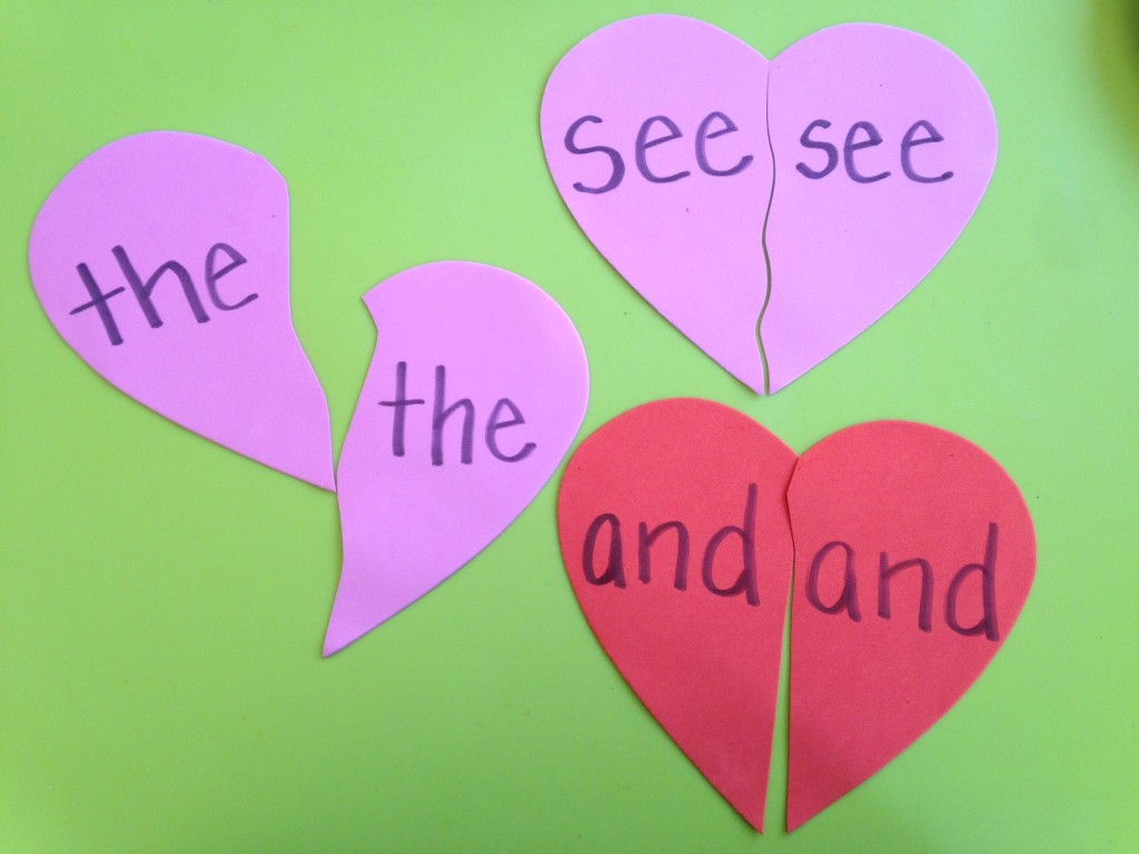 Valentines sight words foam puzzles