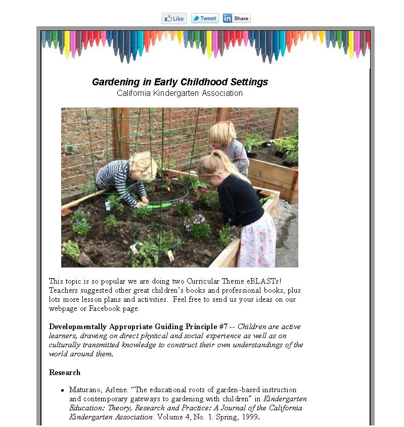 Gardening in Early Childhood Settings, Part Two, June 2016