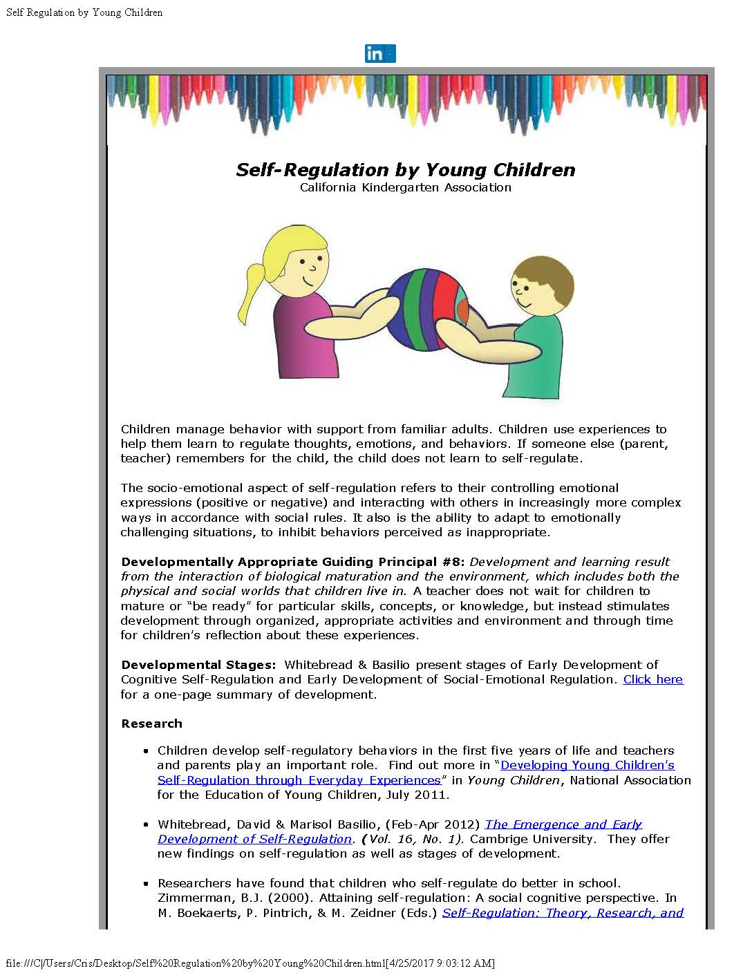 Promoting Self Regulation In First Five >> Self Regulation By Young Children April 2017 California